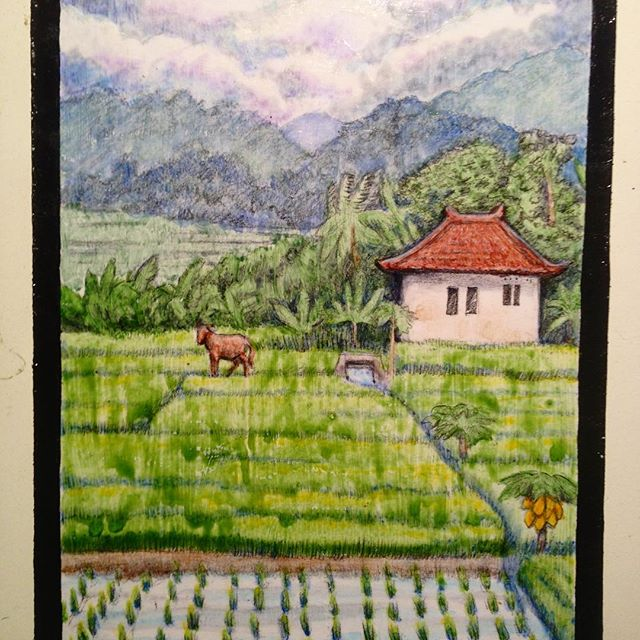 A vista in Bali. #sketchbook #landscape#mixedmediaart