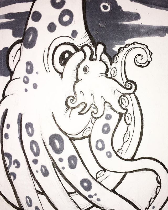 When a giant squid falls in love with a dumbo octopus...it's deep. #sketchbook  #dumbooctopus  #marinelife #penandink #cute #illustration #chidrensbookillustration