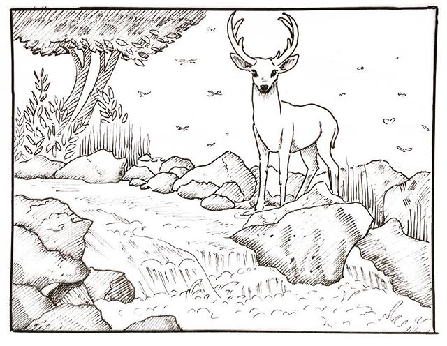 "Inktober day 10: ""Flowing"" a sketch of a cascade. #inktober, #penandink, #deer, #sketchbook"