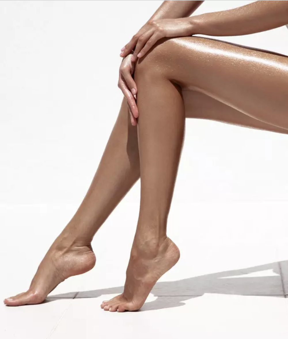 spray tanned legs