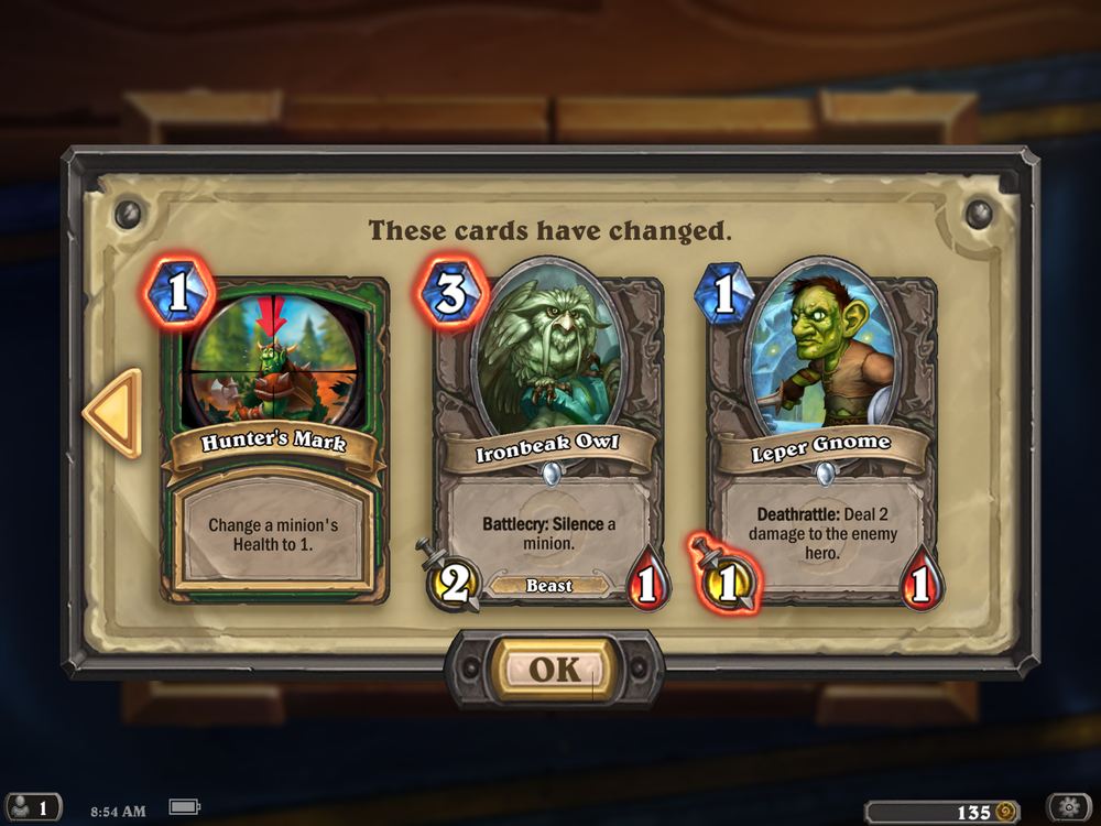 Changes to Hunter's Mark, Ironbeak Owl and Leper Gnome
