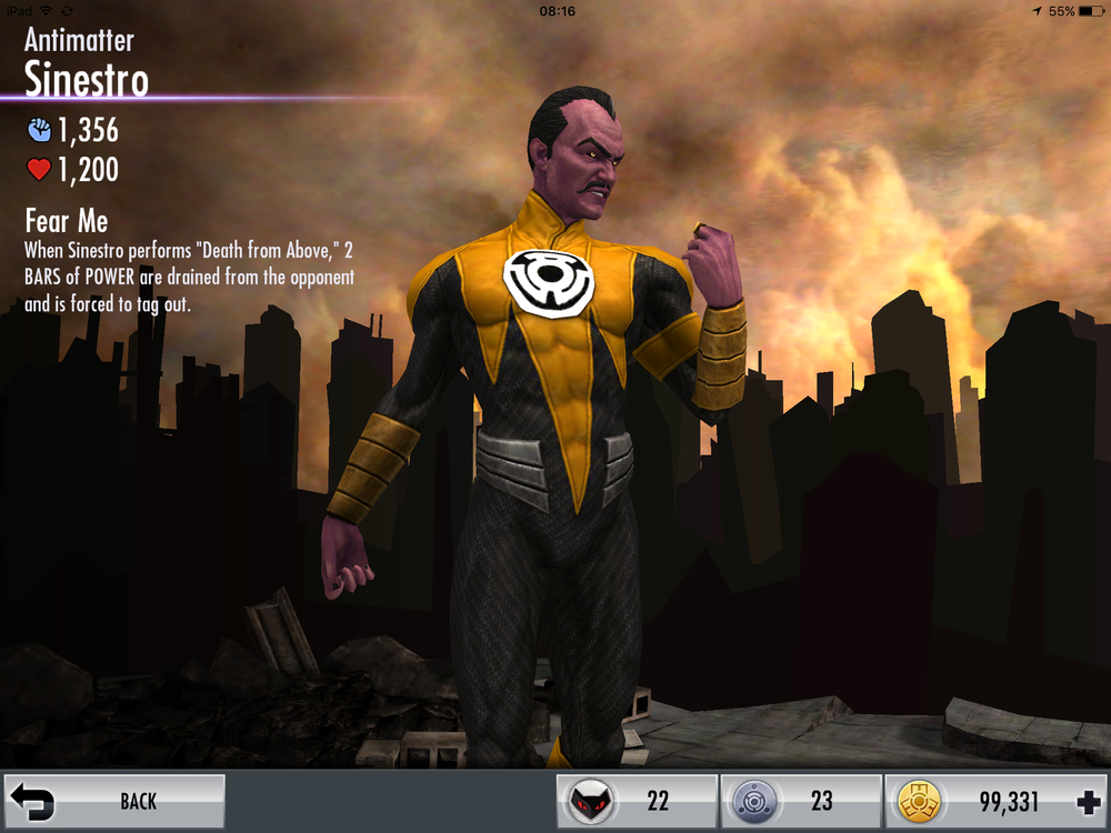 Antimatter Sinestro skills
