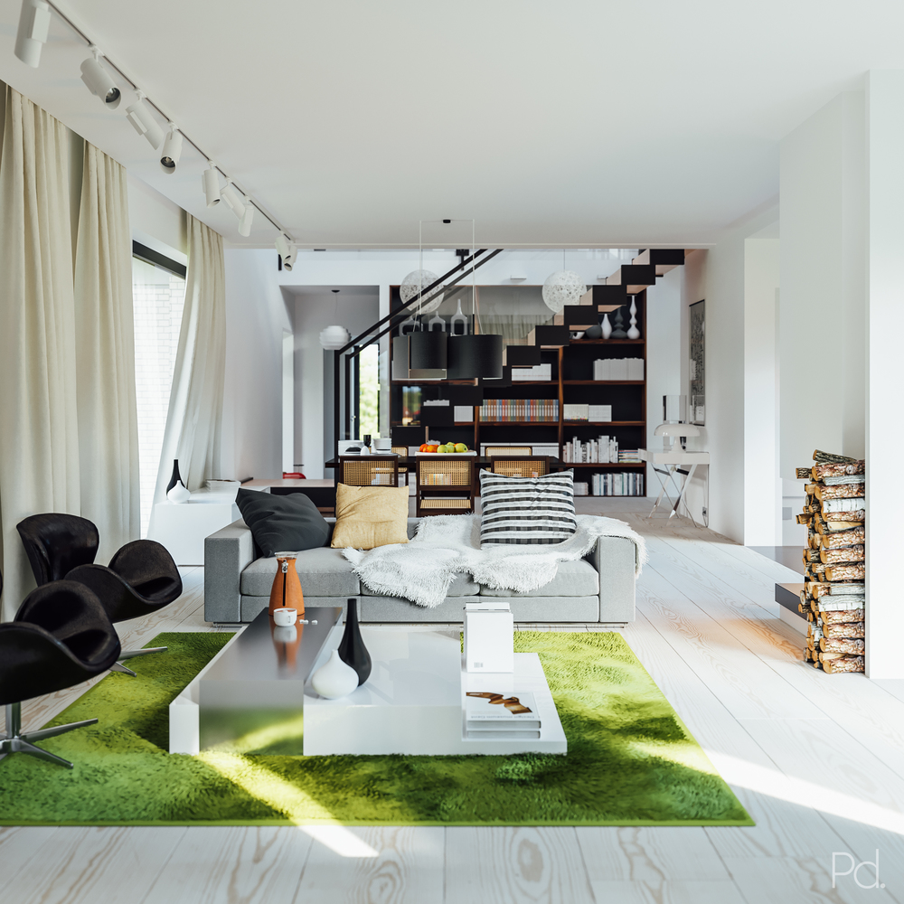 Photorealistic visualisation of a modern, scandinavian style living room for the KM project.