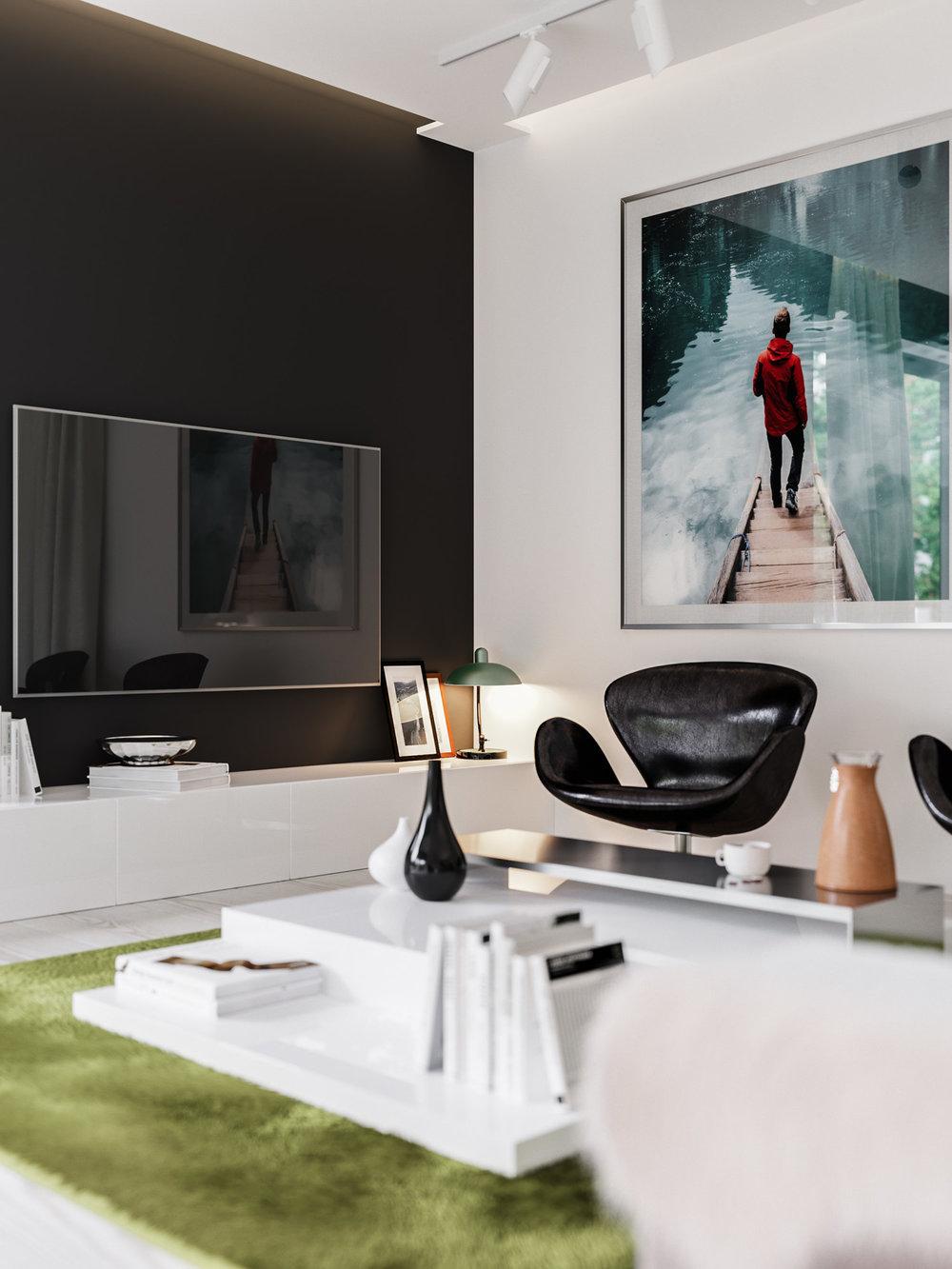 3d interior visualization - modern living room