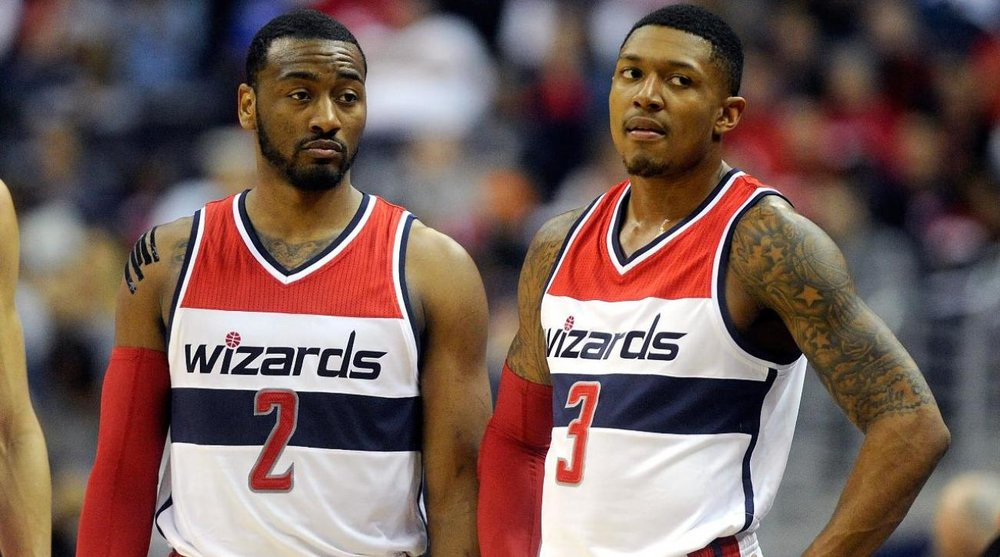 John Wall and Brad Beal of the Washington Wizards.
