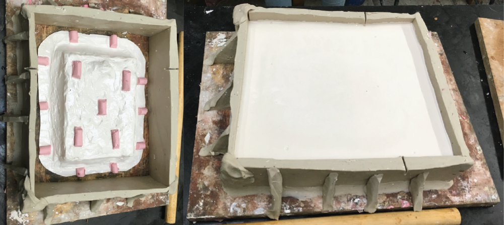 plaster support around the mold