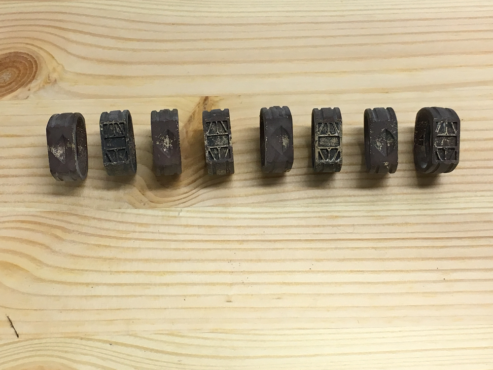 bronze rings before cleaning and gold-plating