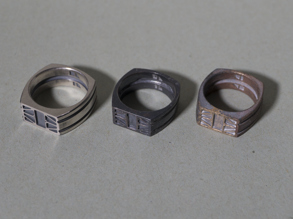 Venus probe ring, silver master, and patinated silver and bronze copies