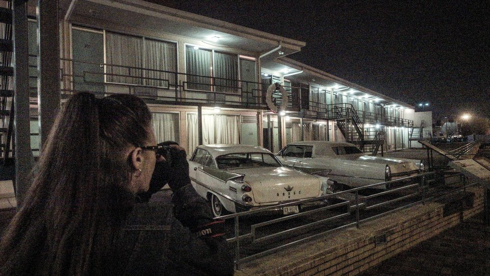 with photographer Glynnis Jones, shooting at Lorraine Motel, Memphis TN, 2018