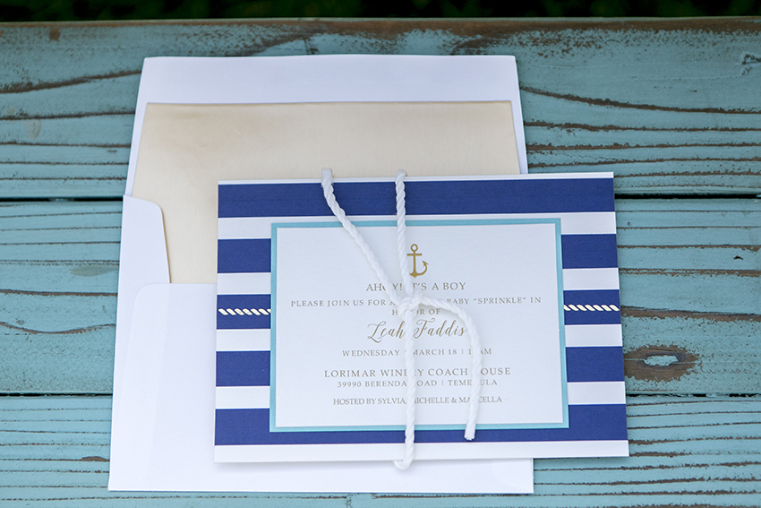 temeculaweddinginvitations.com | Paper Villa Stationery and Design | Leah Marie Photography | Nautical Themed Baby Shower