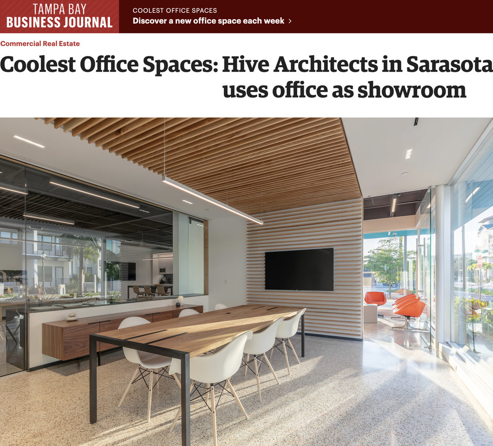 """COOLEST OFFICE SPACES: HIVE ARCHITECTS IN SARASOTA USES OFFICE AS SHOWROOM""  