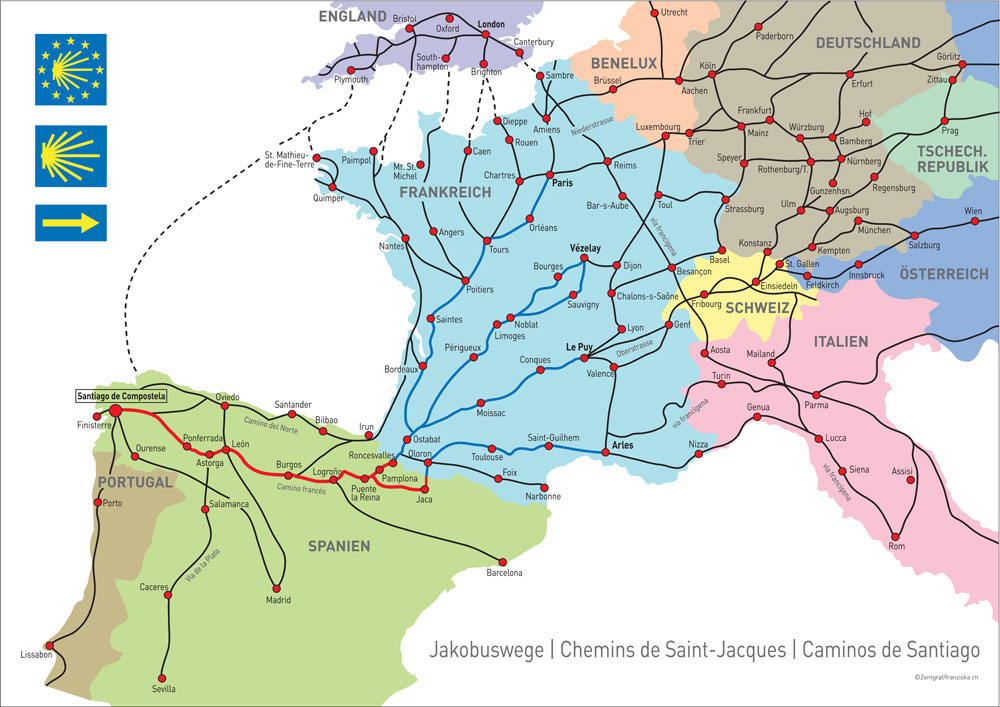 Map of the different routes of the Camino. Source: pilgern.ch