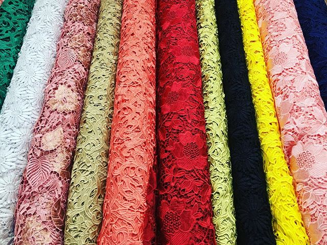 Ebad Fabrics Guipure Laces #ebad #fabrics #ebadfabrics #fabric #guipure #laces #colors #nyc #designer #summer #fashion #fashionblogger #prom #prom2k17 #prom2017 #dress #beautiful #stunning #spring #floral #sequins #sew #sewing #garment