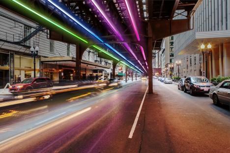 "arsetculture: Rainbow Rail: 5,000 Neon Lights to Line Underside of Chicago ""L"" http://ift.tt/1I5QHnO @webist"
