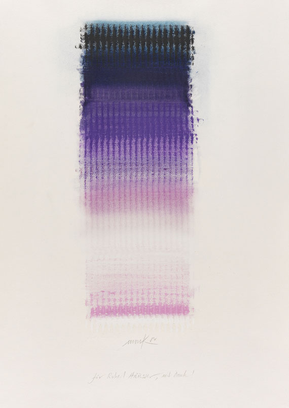vjeranski :       HEINZ MACK   Ohne Titel (Farbchromatik), 1984. Pastel and oil.  Signed, dated and dedicated lower center. On wove paper. 72 x 51,5 cm (28,3 x 20,2 in), size of sheet.