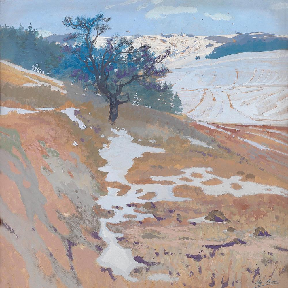 jesuisperdu :    thunderstruck9 :   Hugo Baar (Austrian, 1873-1912),  Hügelland im Winter  [Hills in Winter]. Gouache on cardboard, 50 x 50cm.     [dat purp tho]