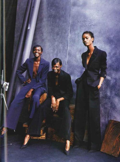 thedoppelganger: Magazine: Vogue Italia 1997 Photographer: Peter Lindbergh Models: Kiara Kabukuru, Debra Shaw, Margareth Lahoussaye