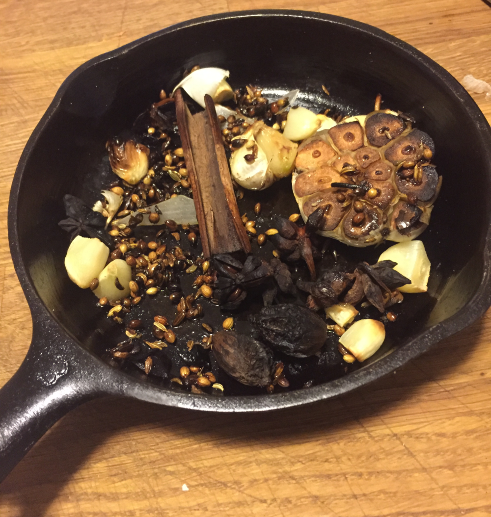Charred spices and garlic
