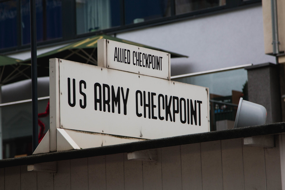 Checkpoint Sign - Checkpoint Charlie, Berlin, Germany 02/12/2015