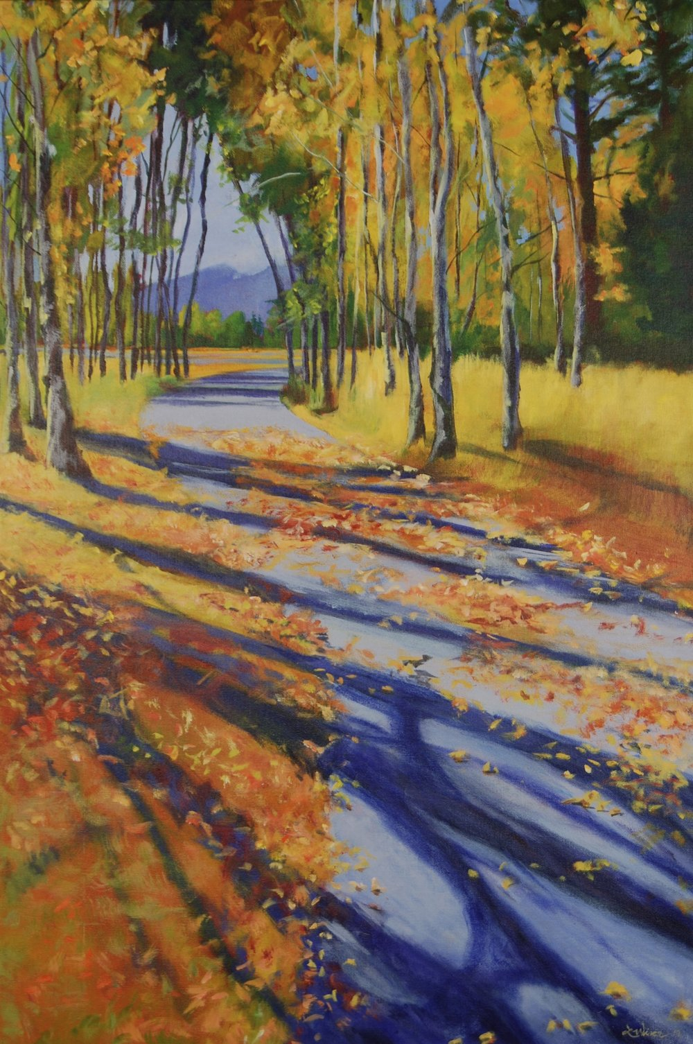 """Aspen Shadows  36""""x24"""" Acrylic on Canvas"""