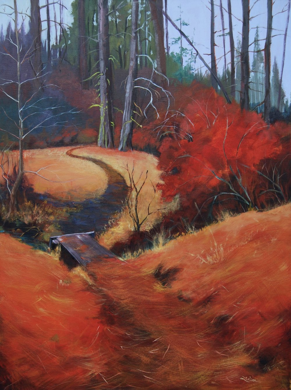 """Pine Forest Path  48""""x30"""" Acrylic on Canvas"""