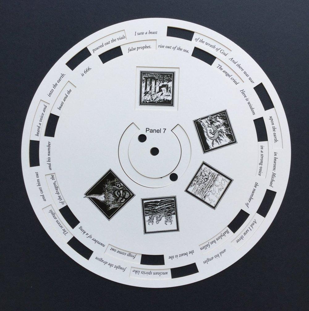 Thomas Parker Williams    Laser-cut paper for rotating artist book,   Revelation