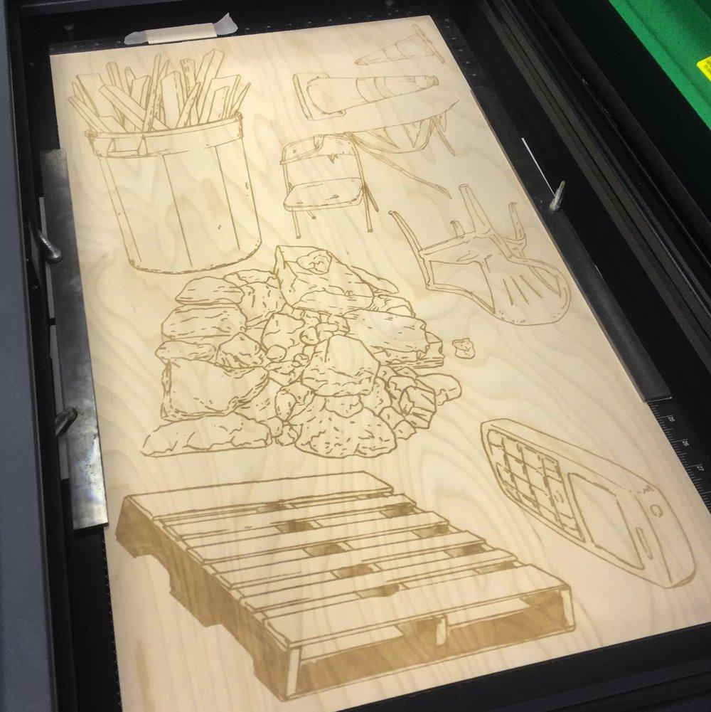 Amze Emmons    Laser engraved wood intaglio plates