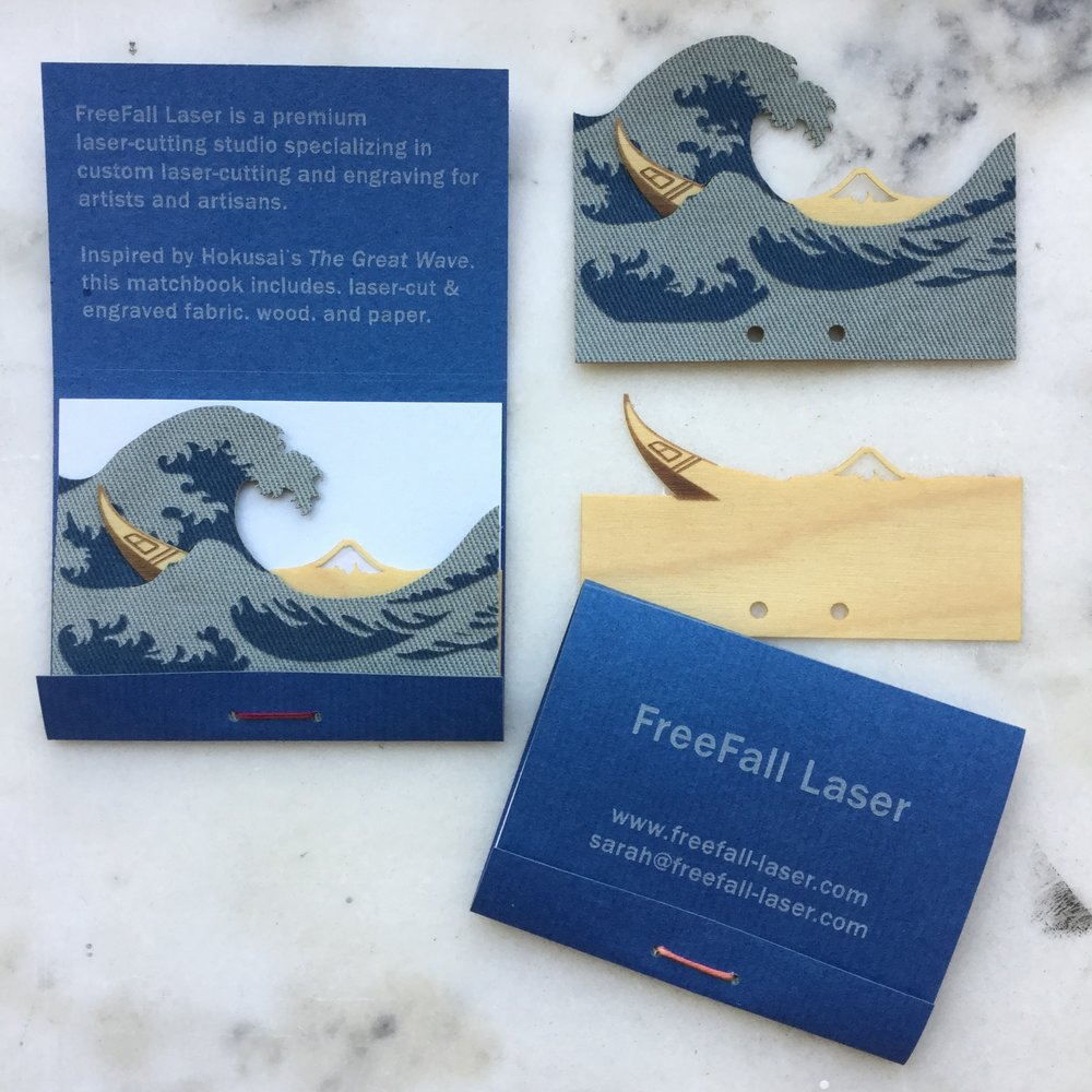 FreeFall Laser   Laser-cut & engraved business cards in wood veneer, fabric, and paper
