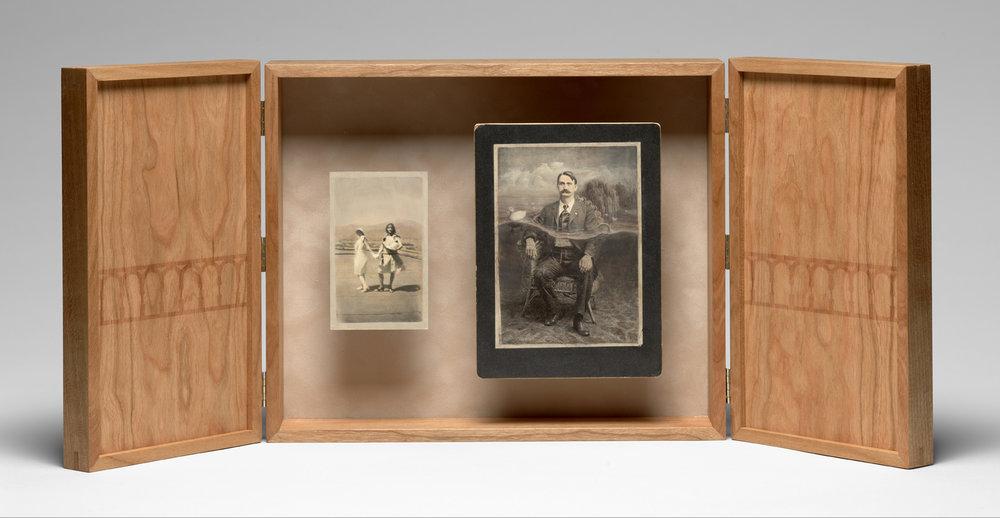 Laura Christensen - Regent's Park, 2018. Acrylic paint, vintage photographs, cherry wood, book cloth, and brass.