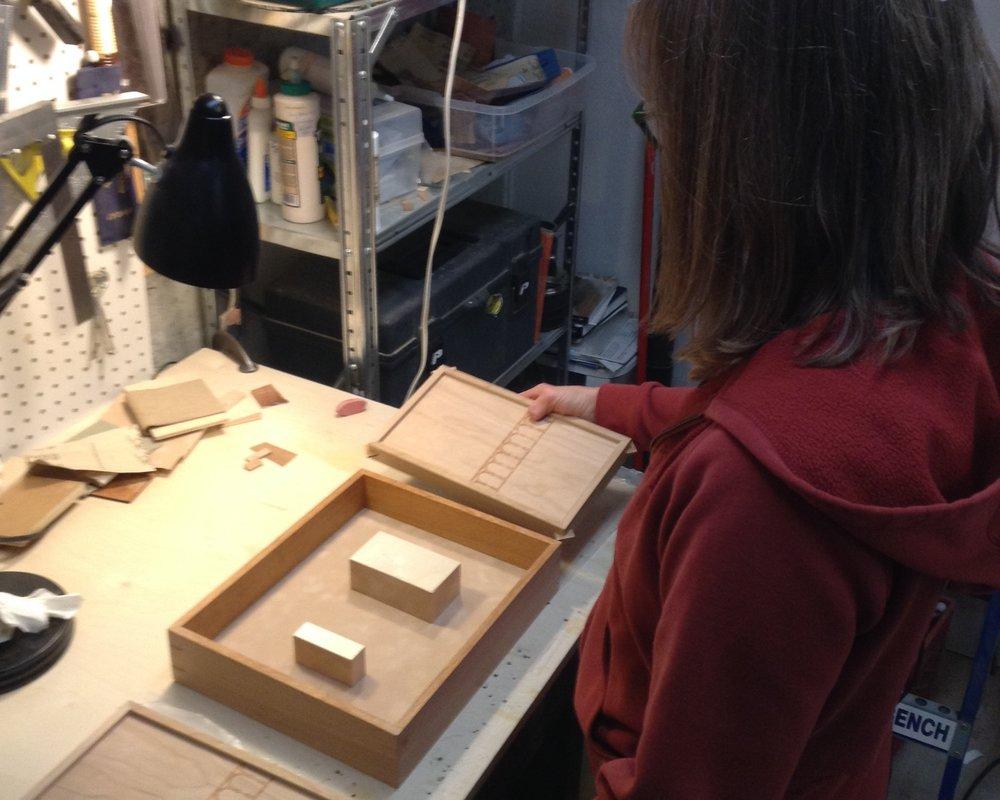 Laura Christensen working in her studio