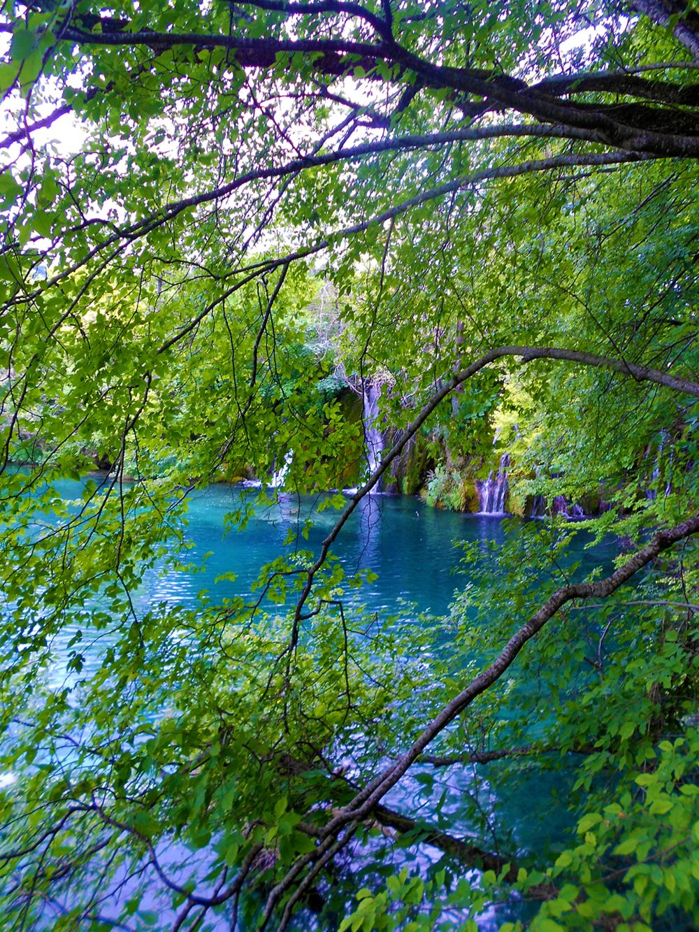 Plitvice Lakes National Parks Croatia waterfalls through trees.png