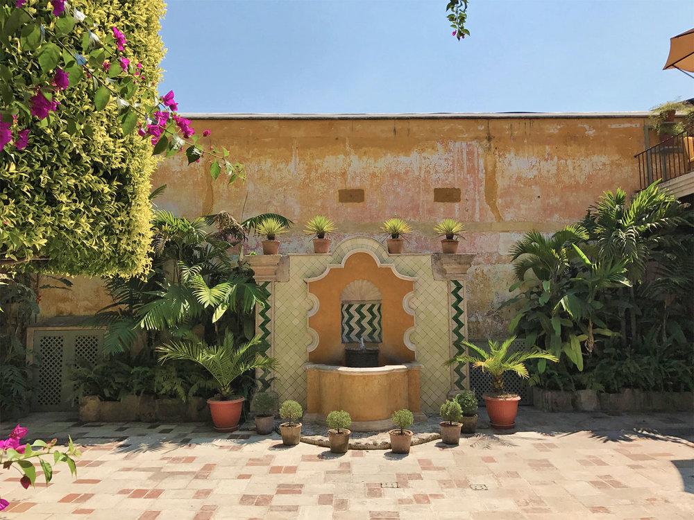 yellow courtyard in Antigua Guatemala