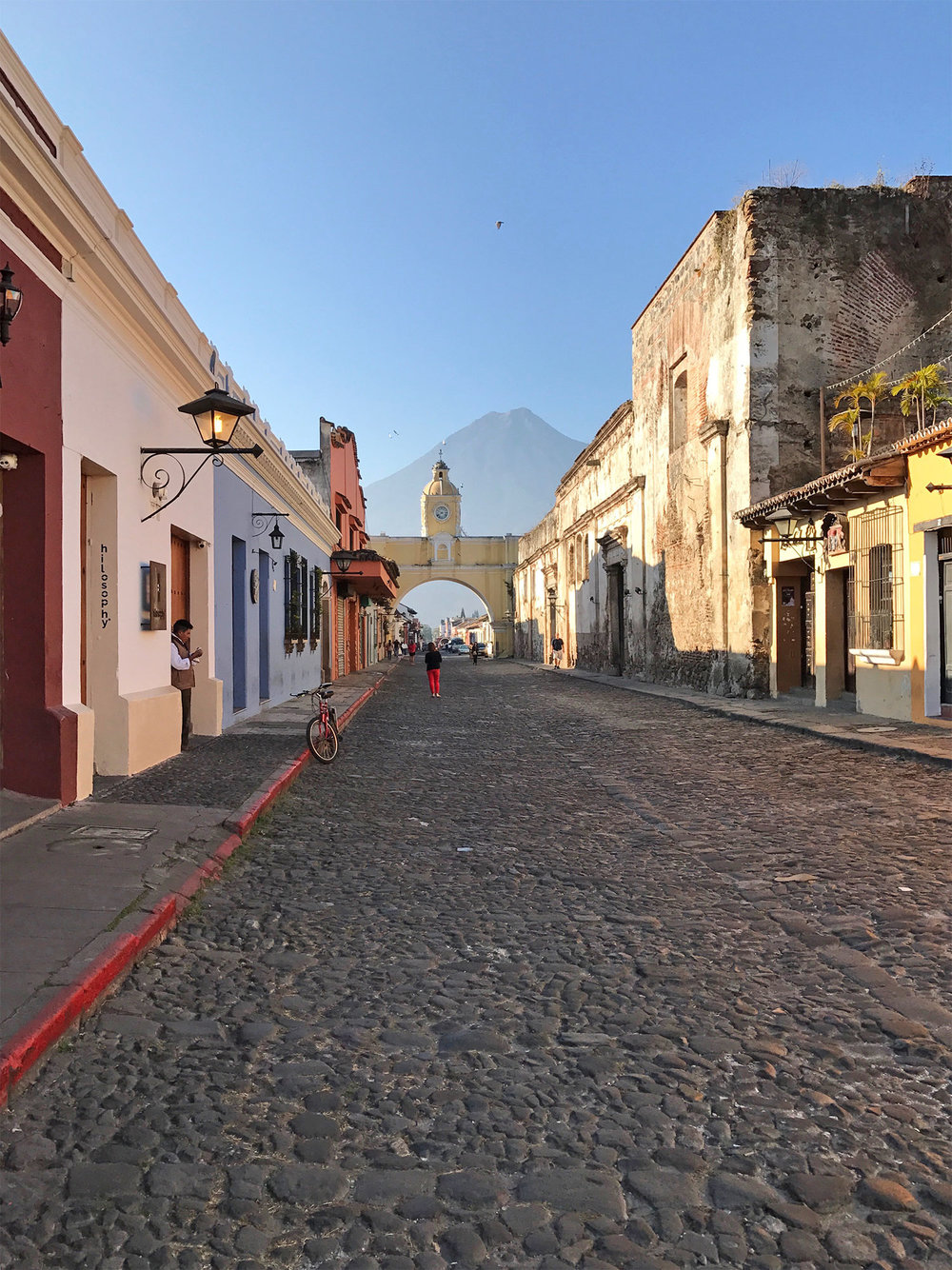 cobbled streets and volcano in Antigua Guatemala