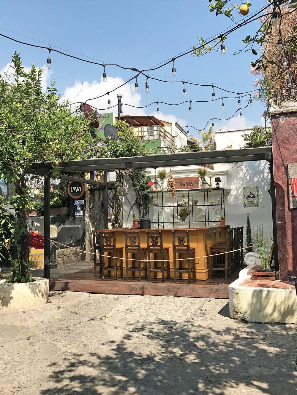courtyard bar in Antigua, Guatemala