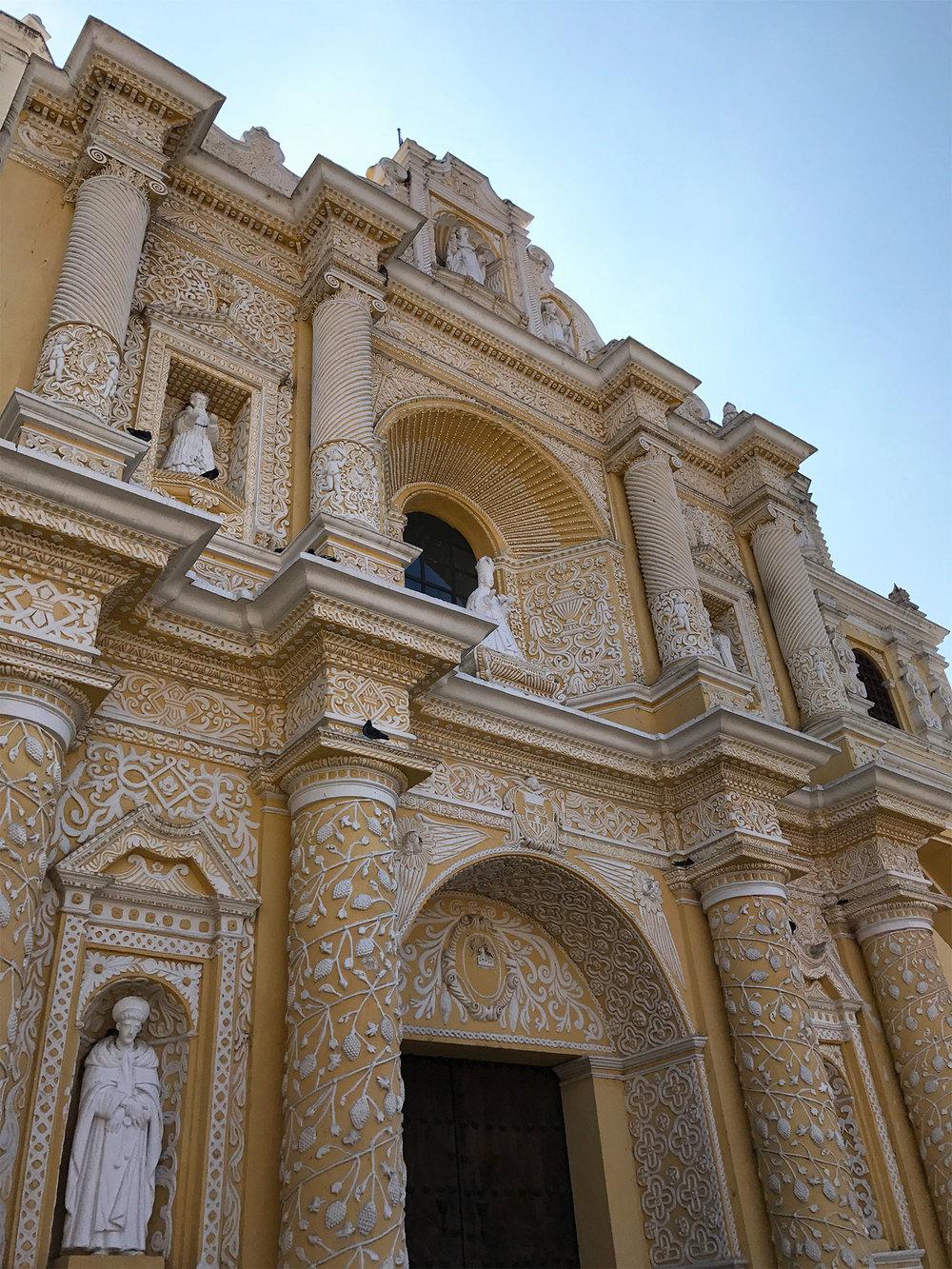 yellow cathedral in Antigua Guatemala