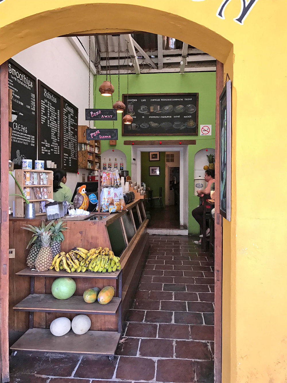 smoothie shop in Antigua Guatemala
