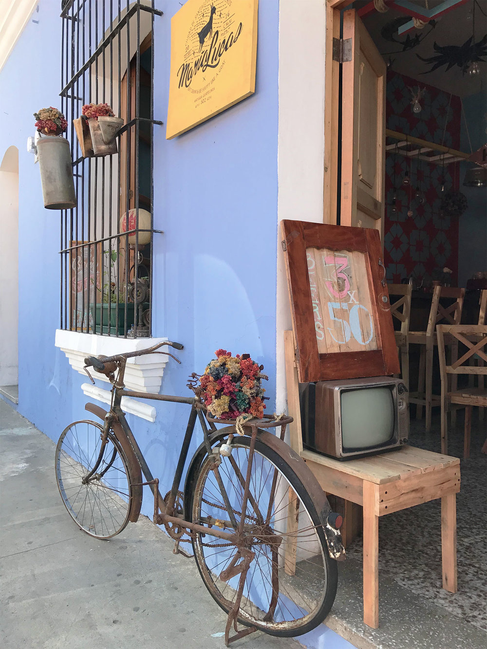 adorable decor at a coffee shop in Antigua Guatemala