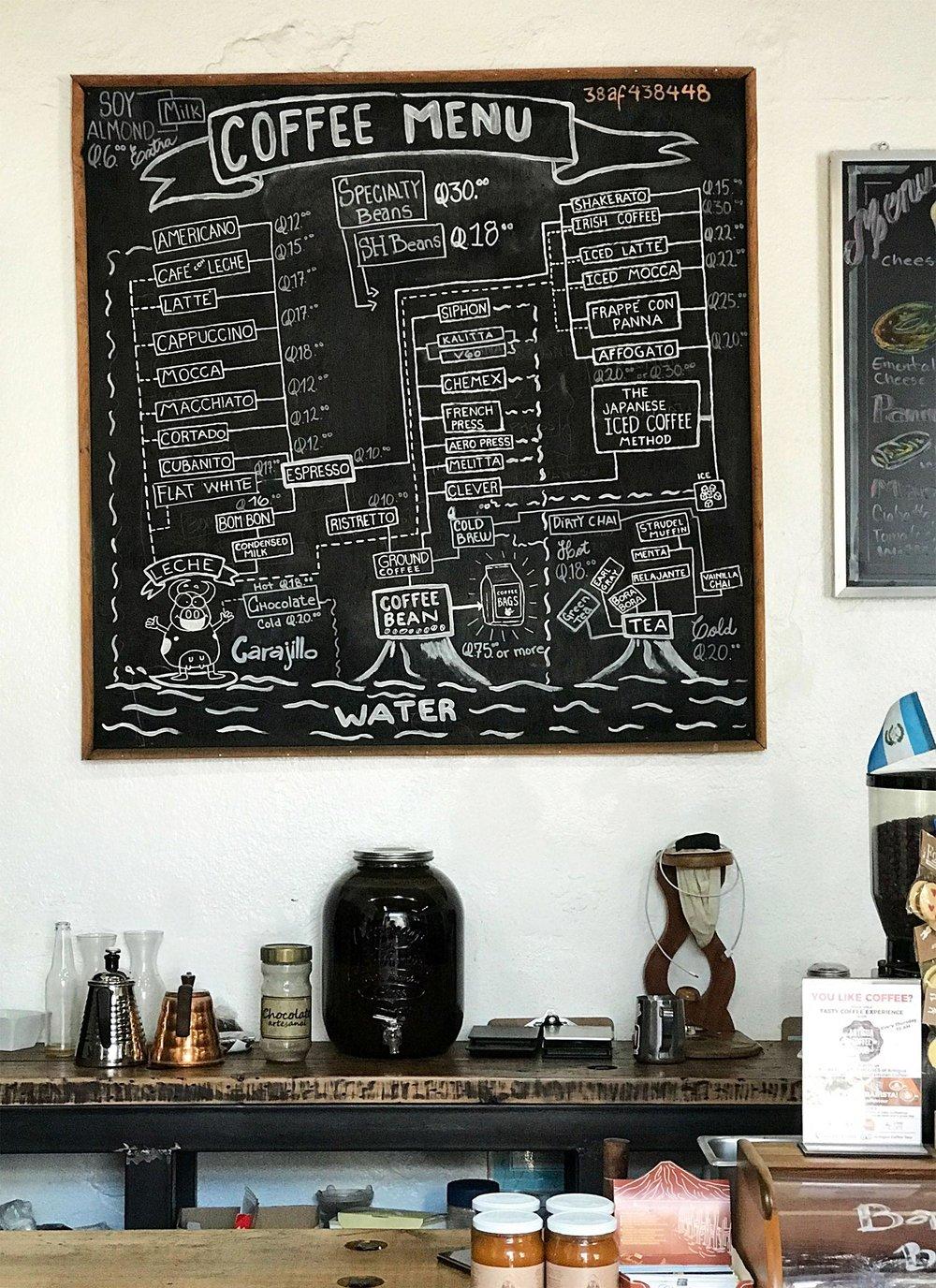 coffee menu in Antigua, Guatemala