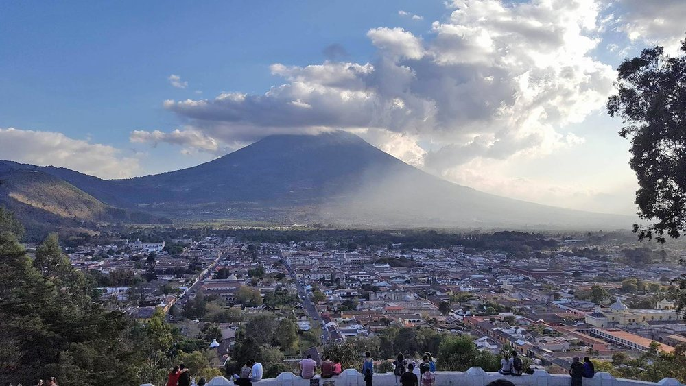 view over Antigua Guatemala from the Cross