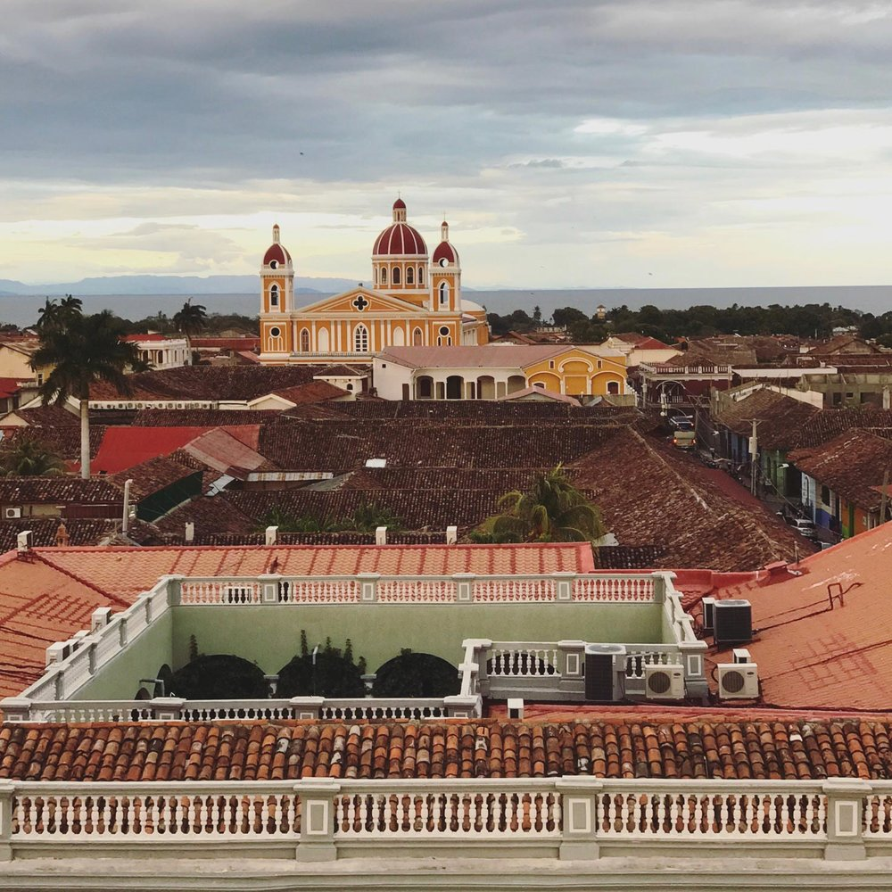 View of Granada and cathedral de Granada from the rooftop of Guadalupe Church