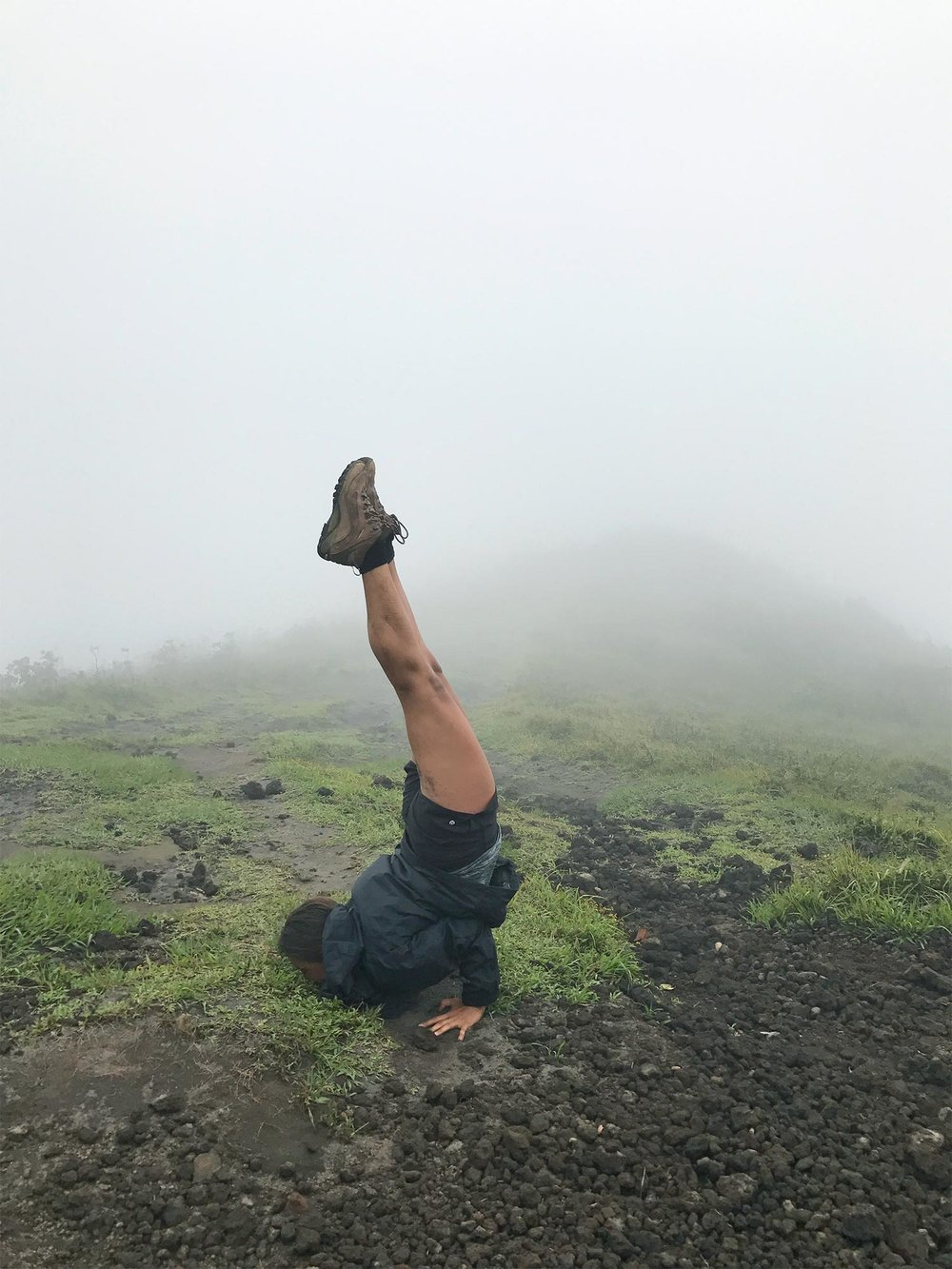 Sapphire & elm Travel Co-Founder Stephanie having some yogi play time on concepcion volcano