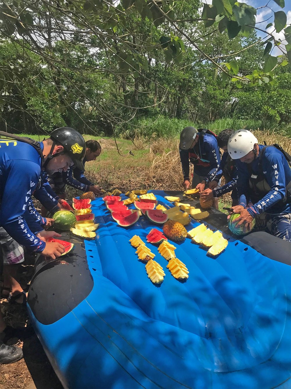 snack of fresh fruit on the balsa river | white water rafting costa rica