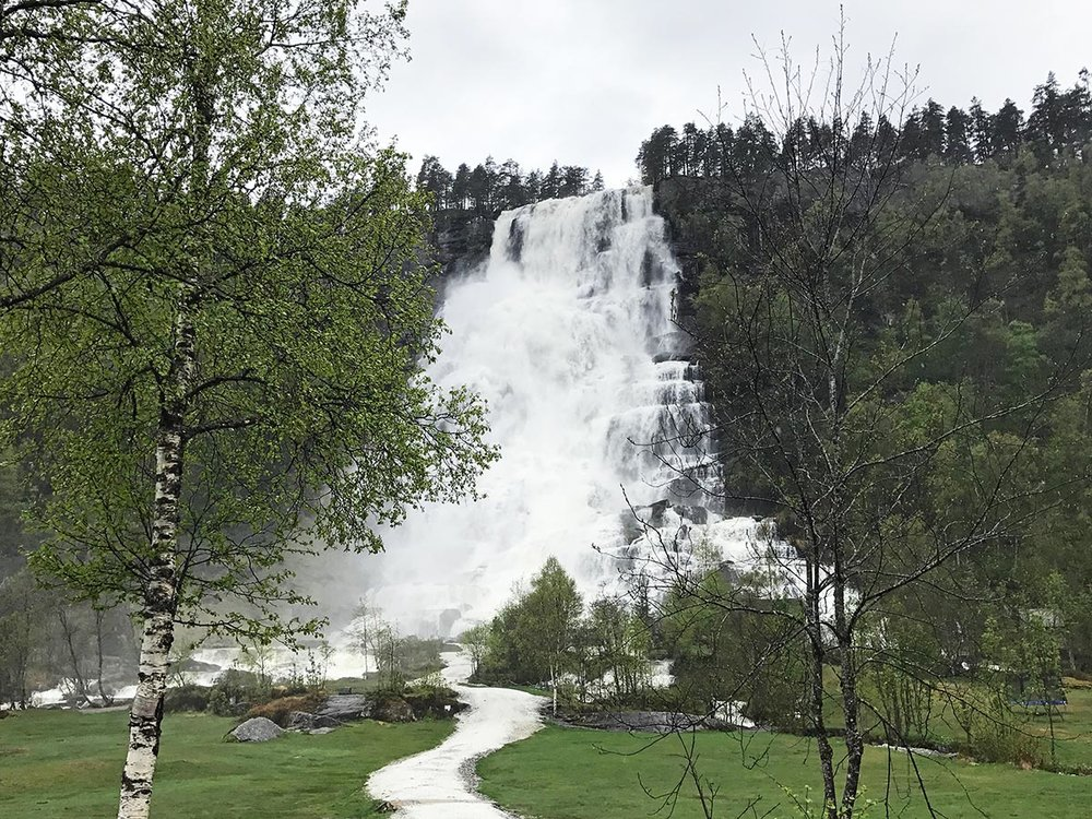 Tvindefossen waterfall in Skulestadmo, Norway