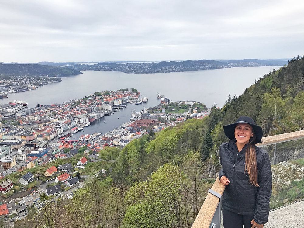 Sapphire & Elm Travel Co-founder   Stephanie   on top of Mount Fløyen in Bergen, Norway