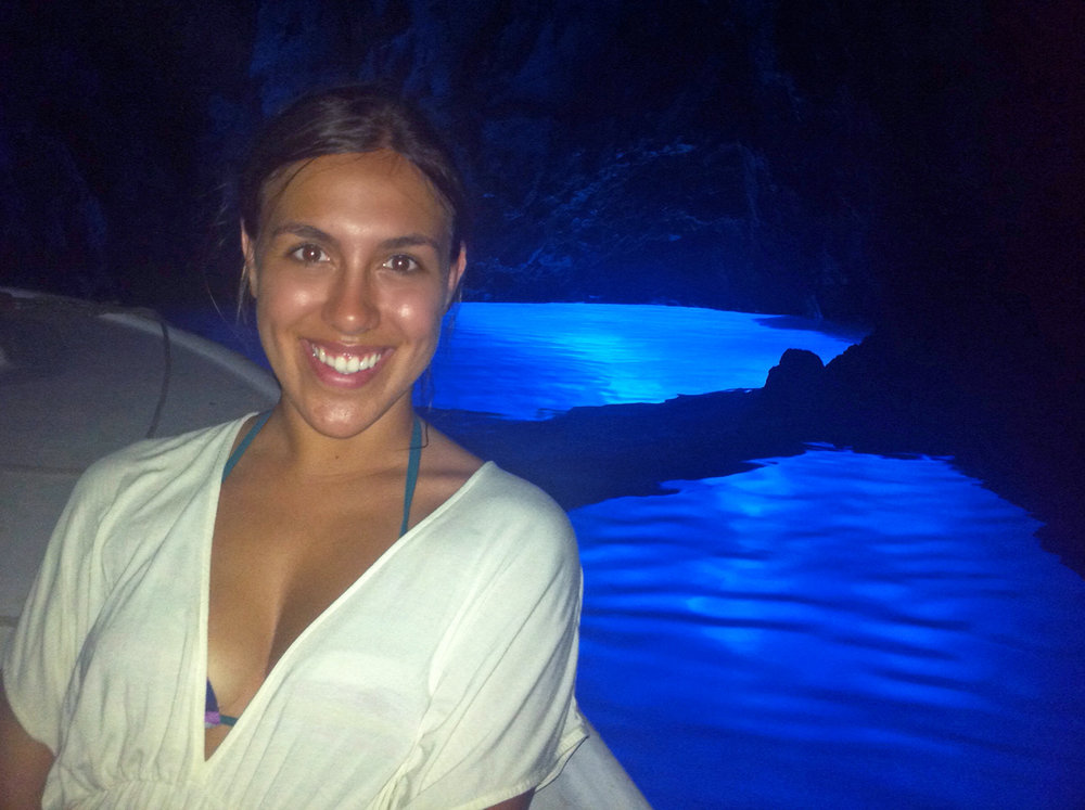 Sapphire & Elm Travel Co-founder, stephanie, at the blue cave in croatia