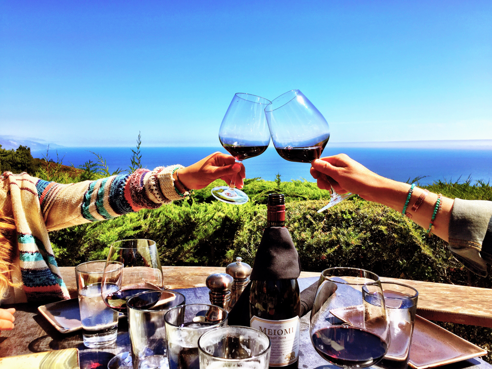 wine and ocean views at nepenthe big sur