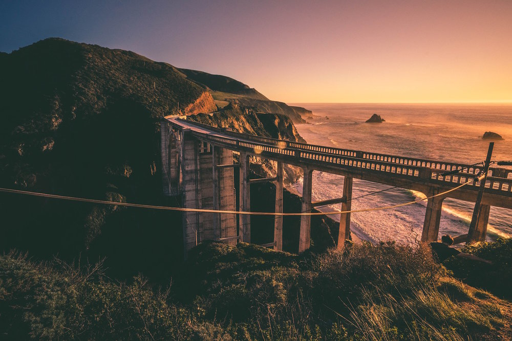 sunset at Bixby Bridge in Big Sur, California