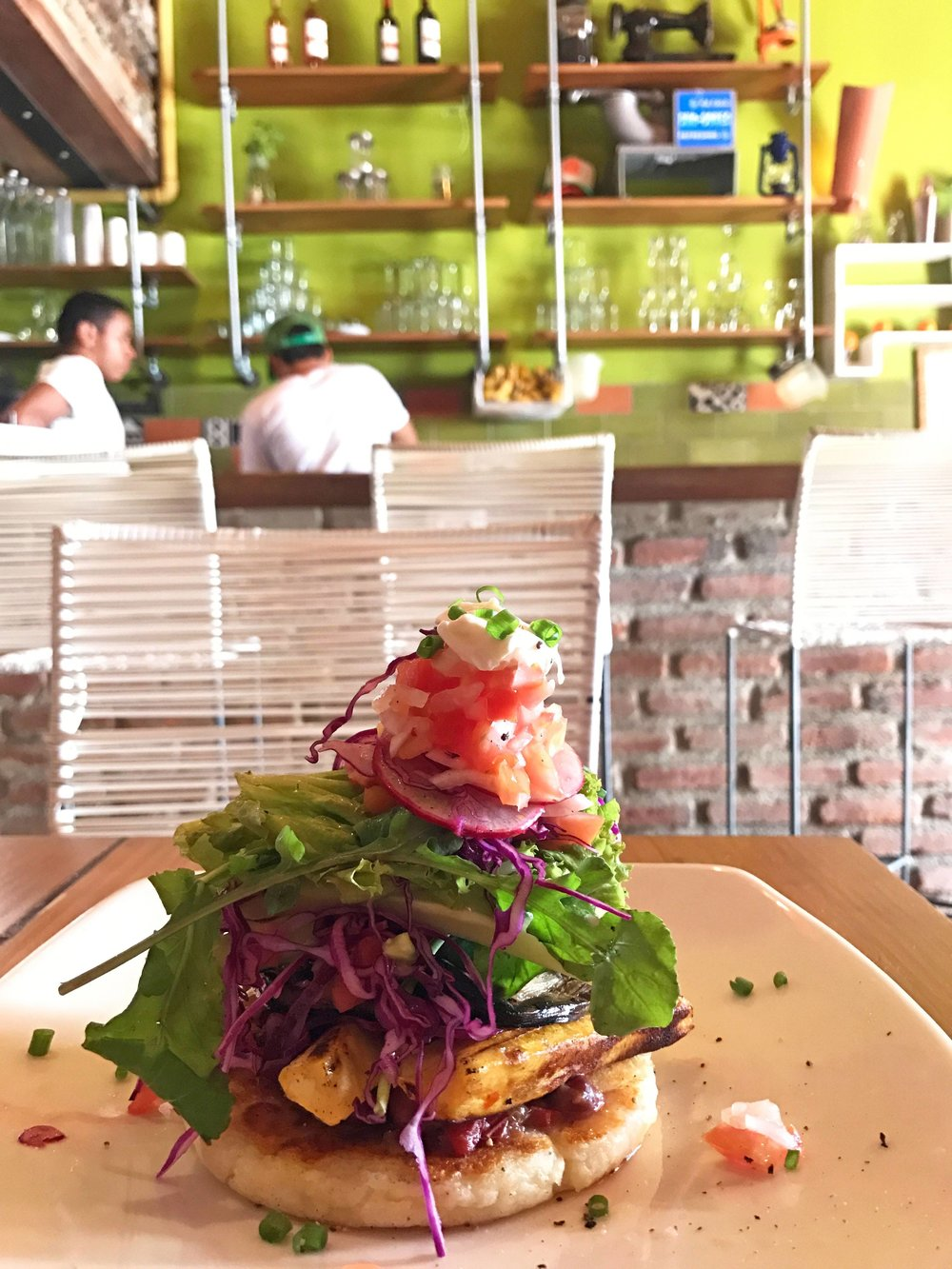 Loaded Arepa in Santa Marta, Colombia