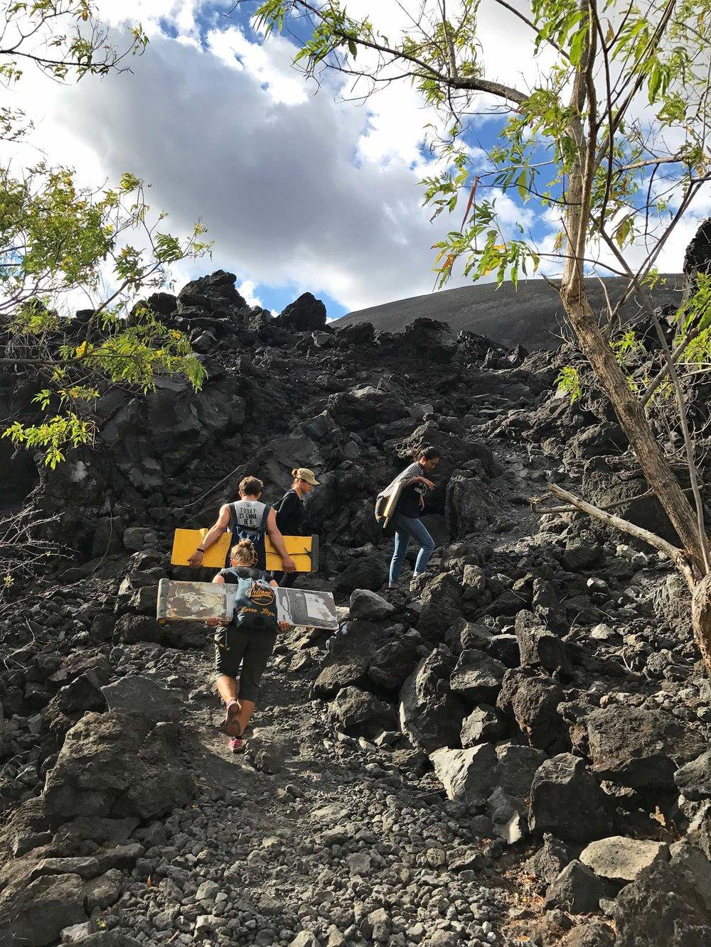 hiking up Cerro Negro | Volcano boarding Nicaragua