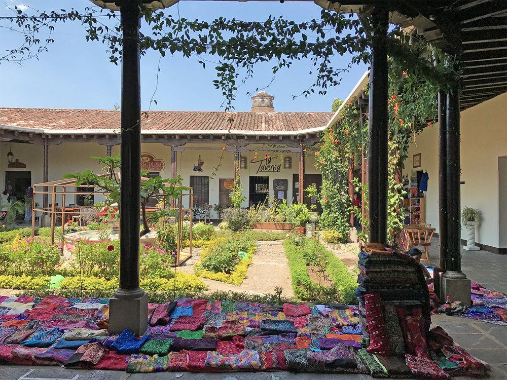 courtyard and goods in Antigua, Guatemala